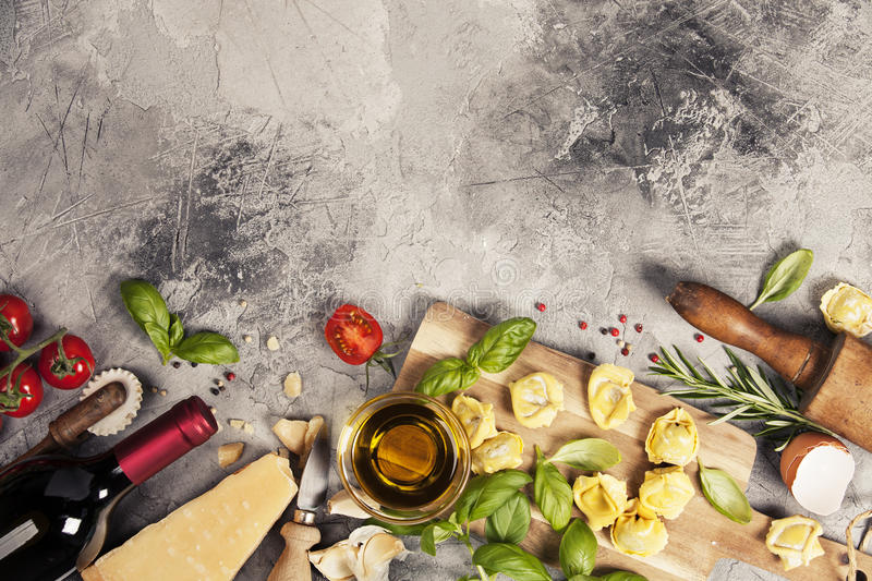 Italian food background. Slate background with space for text royalty free stock photography