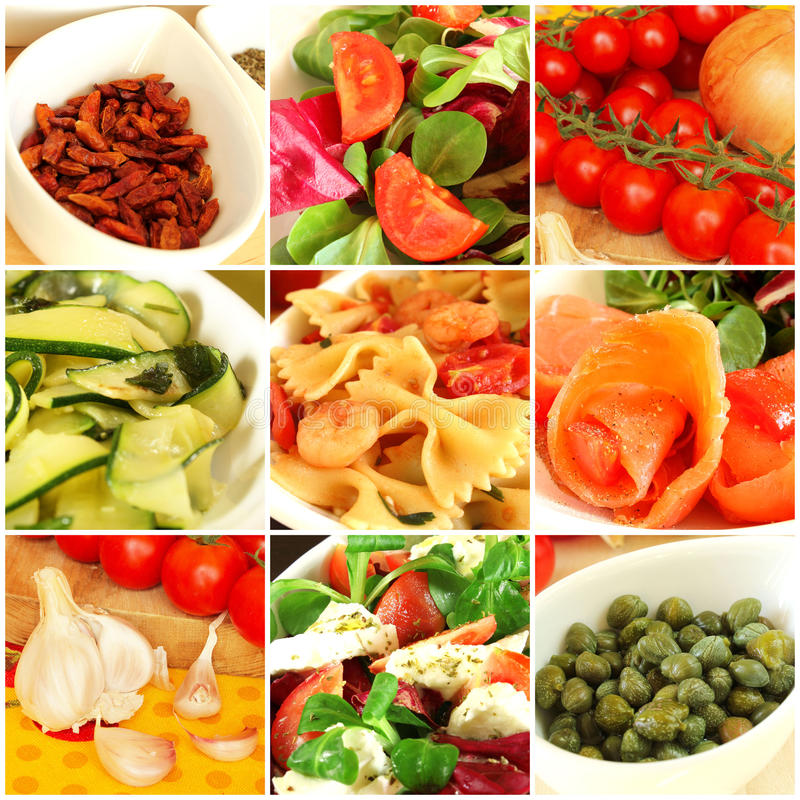 Italian food collage. Healthy italian food and ingredients collage royalty free stock photography