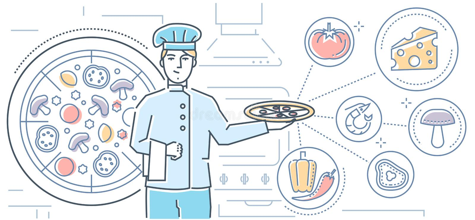Italian food - colorful line design style illustration. On white background. High quality composition with a cook holding plate with dish, traditional cuisine stock illustration