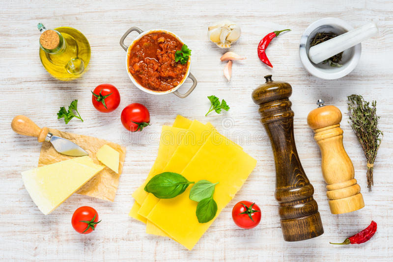 Italian Food Cooking Ingredients in Top View royalty free stock image