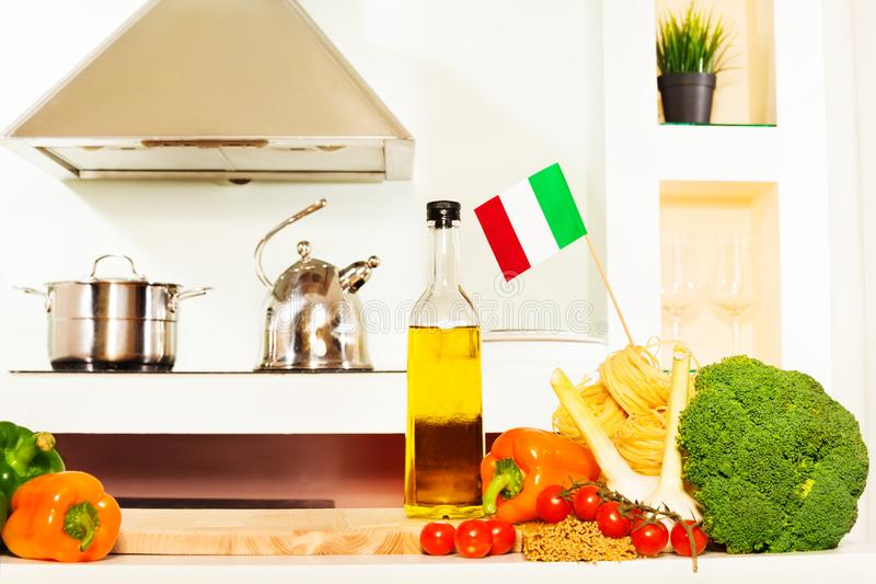 Italian food with copy space on the kitchen table royalty free stock photos