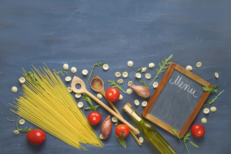 Italian food design template,spaghetti,vegetables and menu black board, free copy space stock photos