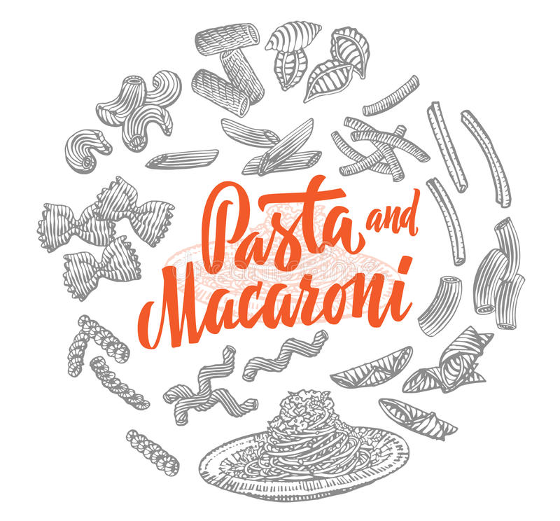 Italian Food Elements Round Composition. With different types of pasta and macaroni in sketch style isolated vector illustration stock illustration