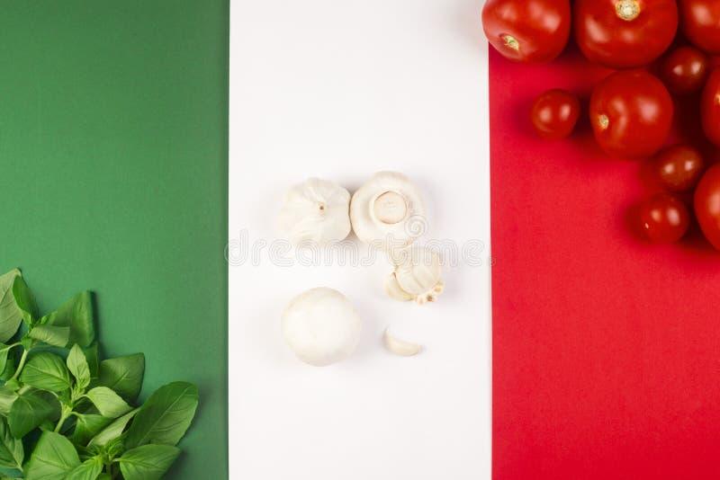 Italian food on flag stock photo