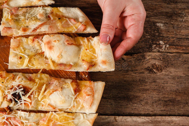 Italian food, fresh baked yummy pizza, close up stock photography