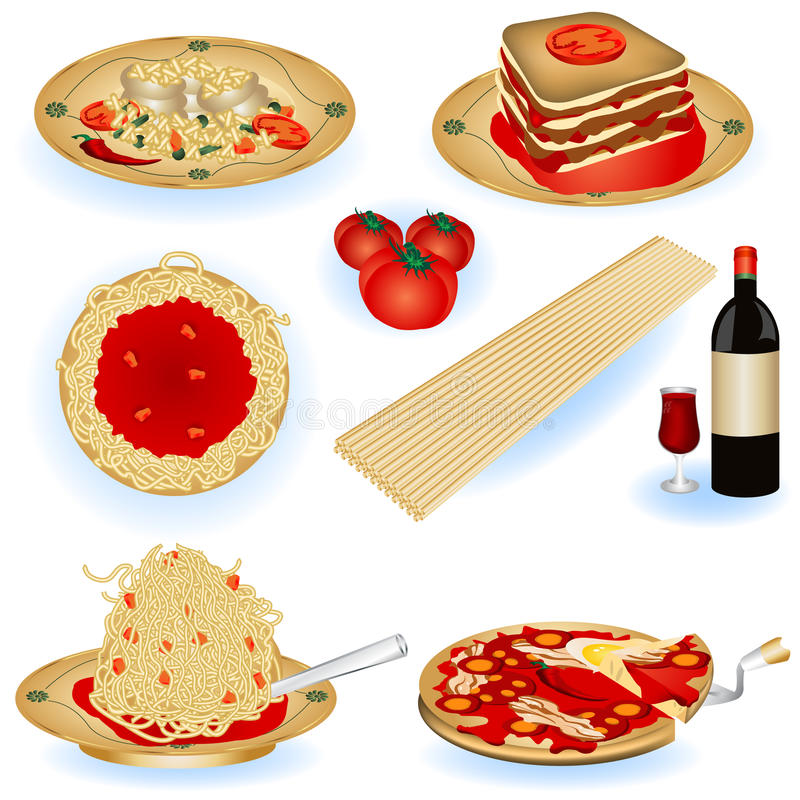Italian food illustrations royalty free illustration