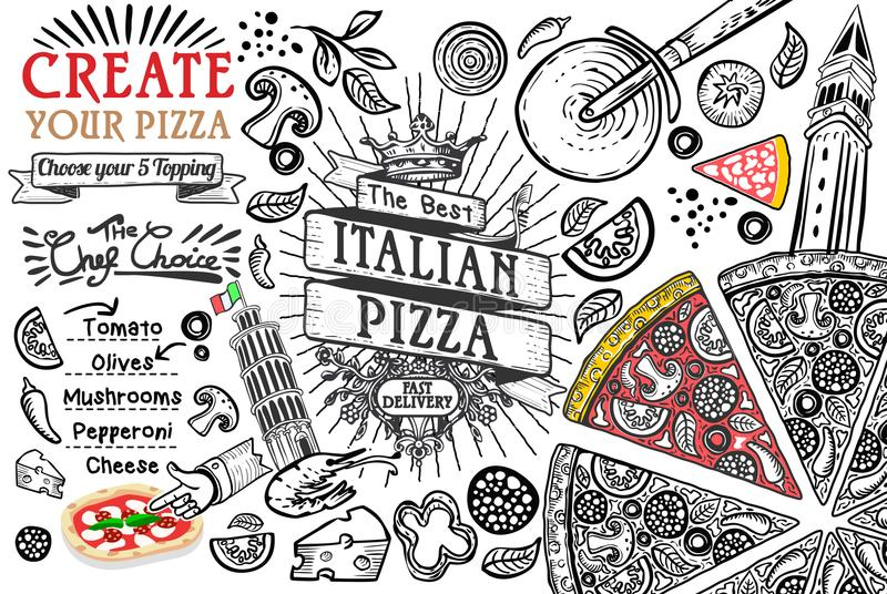 Italian food ingredients as pizza doodle stock illustration