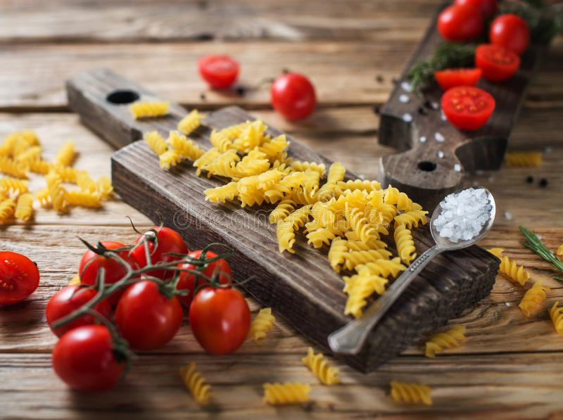 Italian food or ingredients background with fresh vegetables, pa royalty free stock photos
