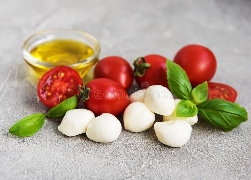 Italian food ingredients. Mozzarella, basil, tomatoes stock photos
