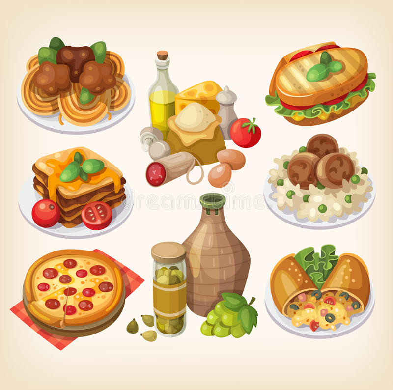 Italian food and meals. Set of italian food, products and other elements of italian cuisine