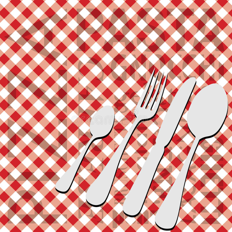 Italian Food Menu Card. Red Gingham With Cutlery / Vector stock illustration