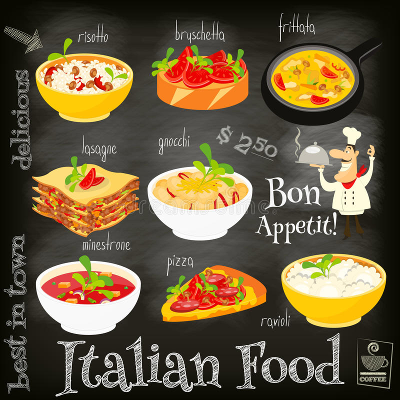 Italian Food Menu. Card with Traditional Meal on Chalkboard Background. Italian Cuisine. Food Collection. Vector Illustration royalty free illustration