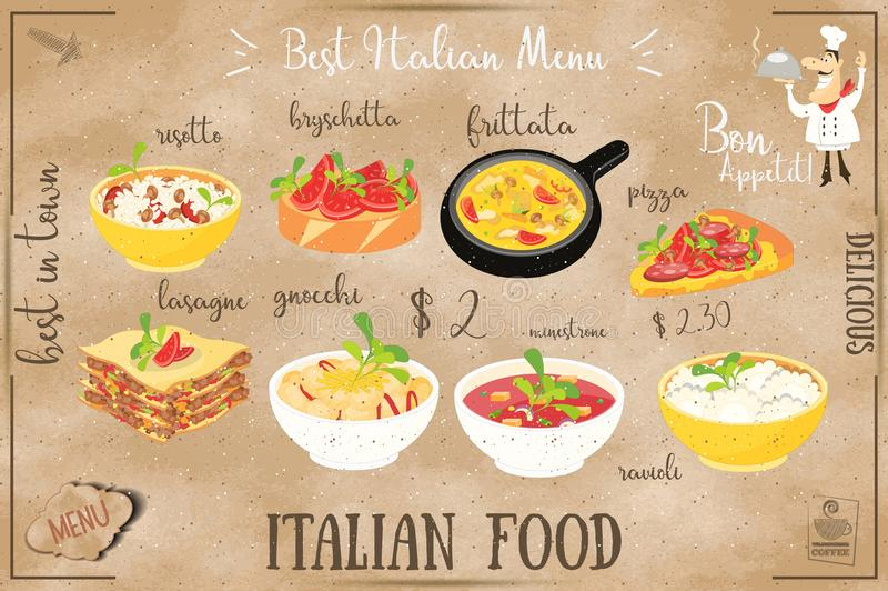 Italian Food Menu. Card with Traditional Meal on Chalkboard Background. Italian Cuisine. Food Collection on Kraft Paper. Vector Illustration vector illustration