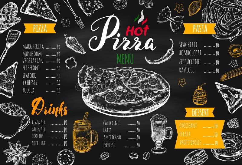 Italian food menu for restaurant stock illustration