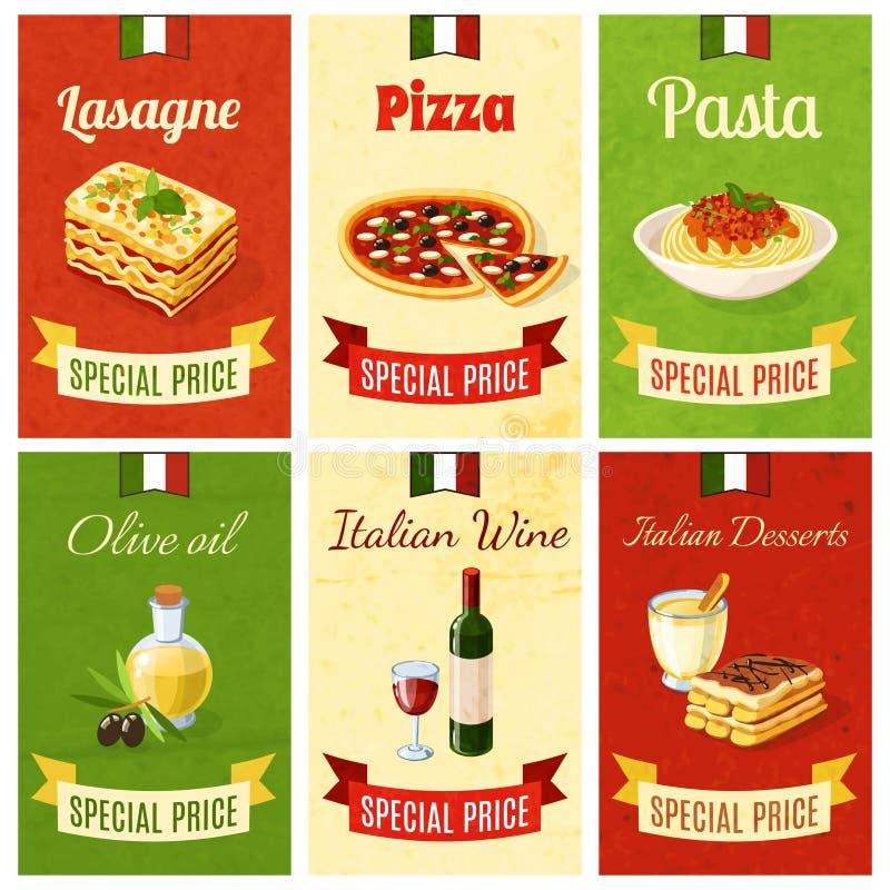 Italian Food Mini Poster. Set wtih lasagne pizza pasta olive oil wine dessert isolated vector illustration stock illustration