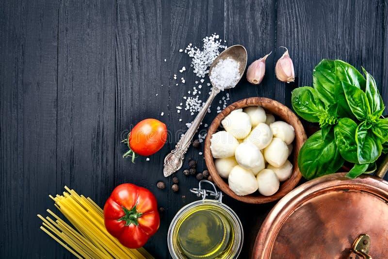 Italian food pasta with cheese mozzarella basil stock images