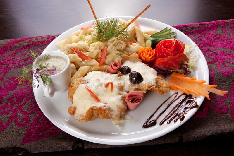 Italian food pasta with chicken Dish royalty free stock photography
