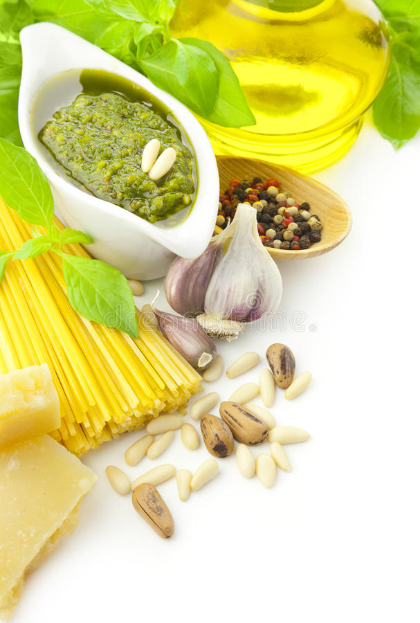 Italian food / pesto and pasta / frame. Italian food / pesto and pasta with ingredients / border composition royalty free stock photo