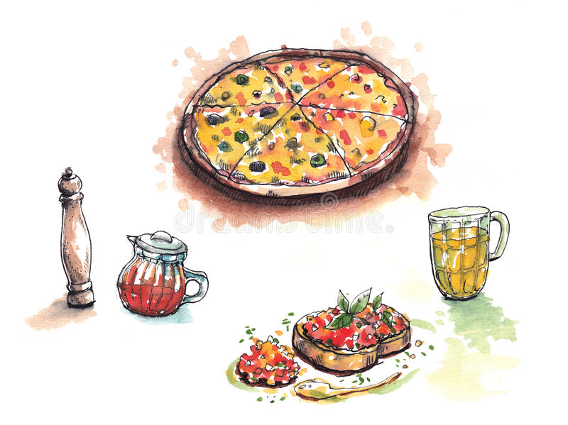 Italian food, pizza, anitipasto, pepper, chilli oil beer water color illustration royalty free illustration