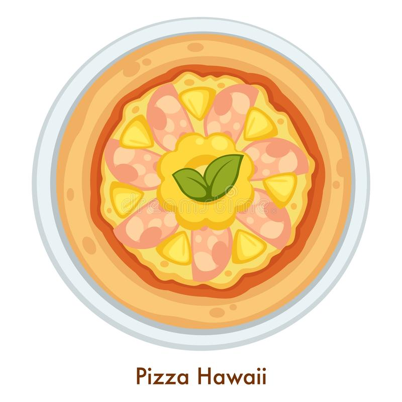 Italian food pizza Hawaii cuisine of Italy pastry dish. Pizza Hawaii Italian food dish vector cuisine of Italy isolated vector meal pineapple fruit slices and stock illustration