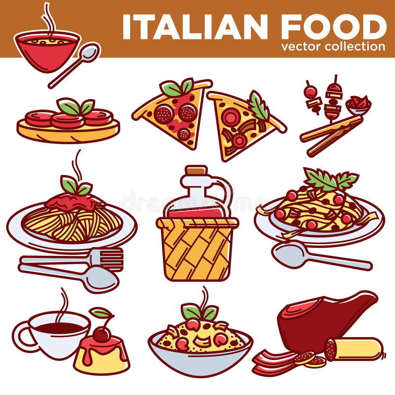 Free Italian Food Pizza, Pasta, Meat And Dessert Drink Vector Flat Icons Stock Photography - 96257862