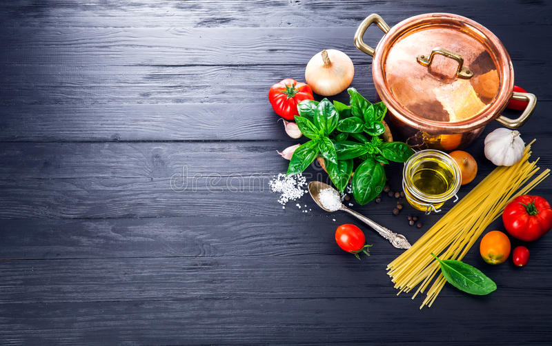 Italian food preparation pasta on wooden board. In style copyspace stock photography