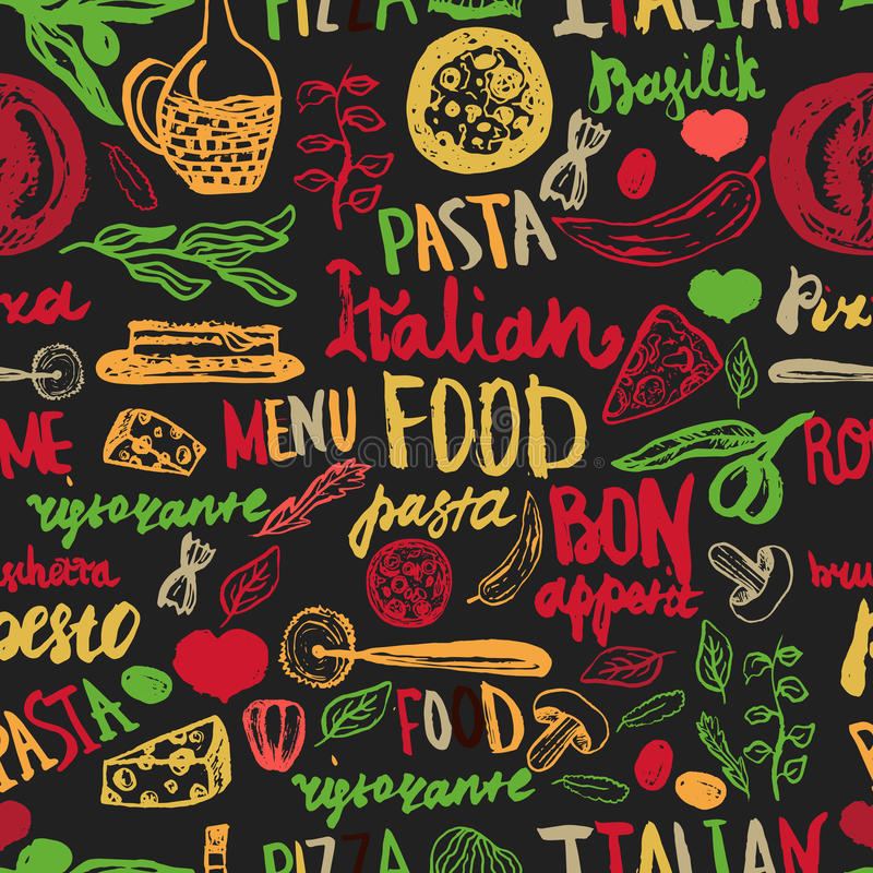 Italian food Seamless Background with Various Groceries: Pasta, Vegetables, pizza and Mushrooms vector illustration