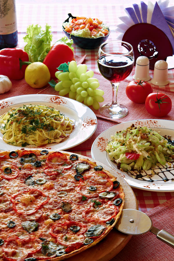 Download Italian Food Setting With Pizza, Pasta And Wine Stock Photo - Image: 15345038