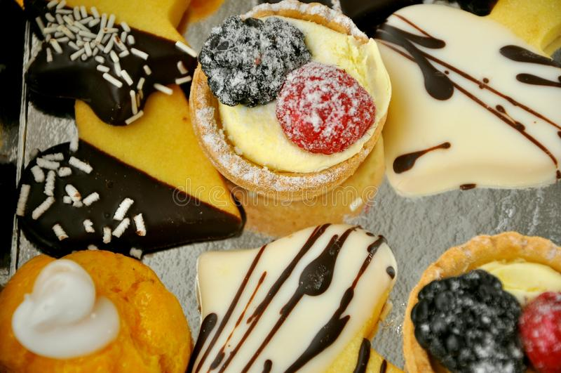 Italian food: sweets for breakfast in Florence, Tuscany stock image