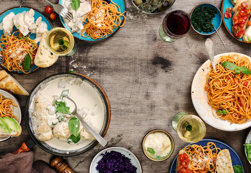 Italian food table, snacks and wine with copy space stock images
