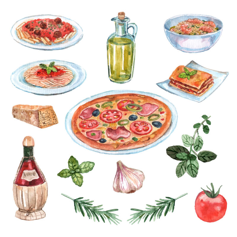 Italian Food Watercolor Set. With pizza pasta and wine isolated vector illustration royalty free illustration
