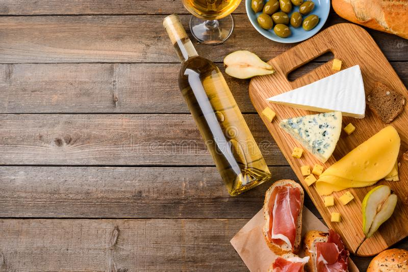Italian food and white wine stock photography