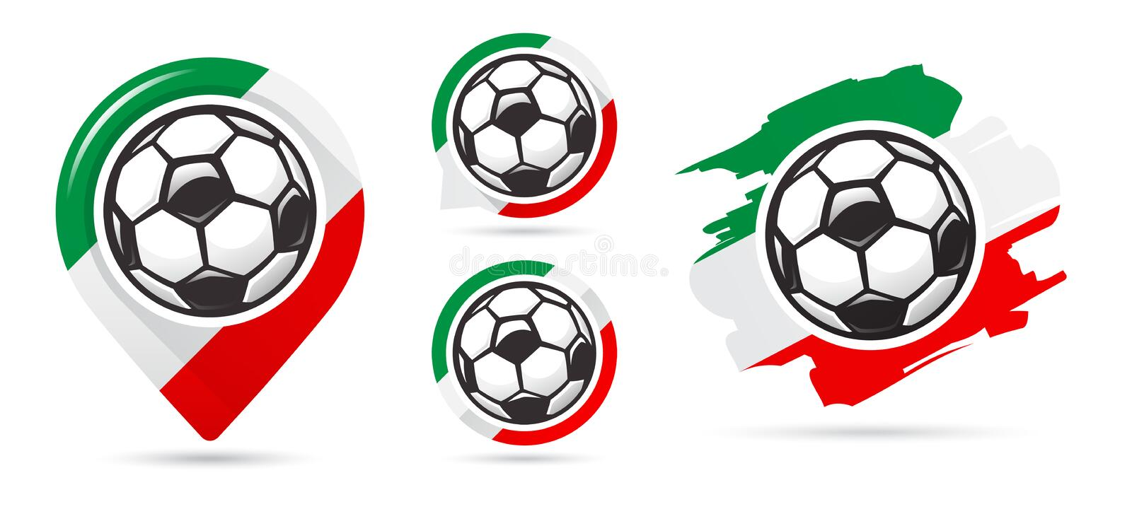 Italian football vector icons. Soccer goal. Set of football icons. Football map pointer. Football ball. Soccer ball vector sign. Scoring a goal vector illustration