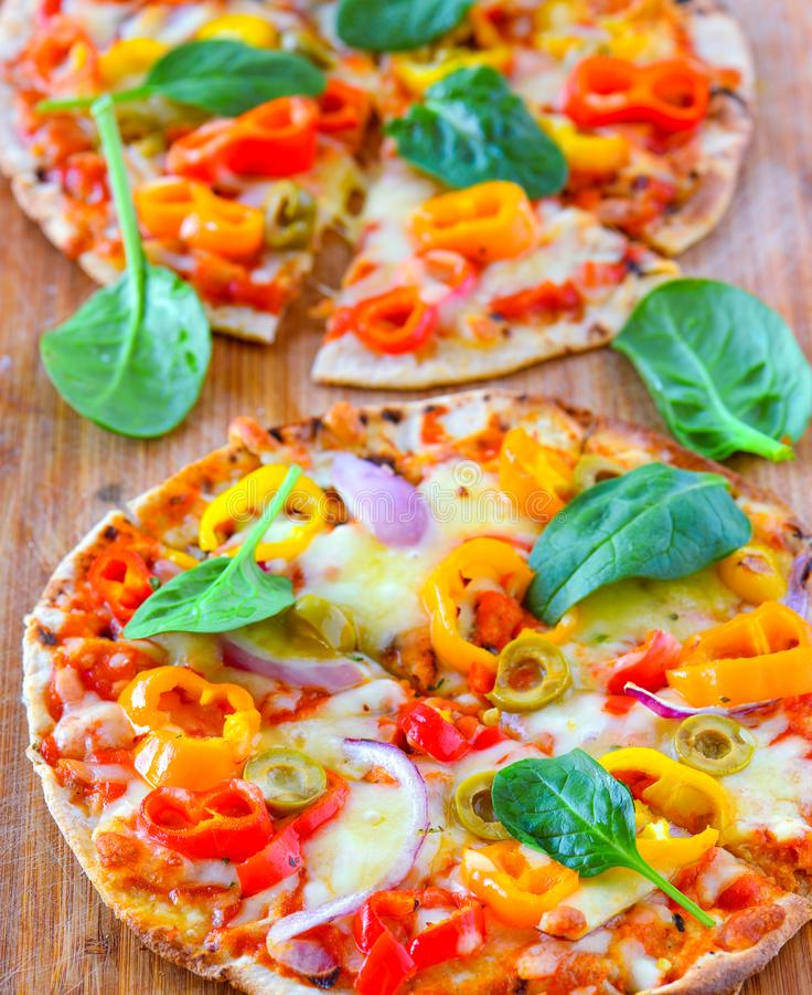 Italian freshl baked Vegetarian Pizza stock photography