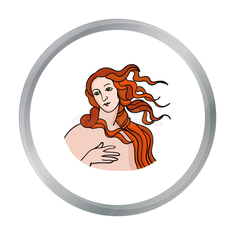 Italian goddess of love icon in cartoon style isolated on white background. Italy country symbol stock vector. Italian goddess of love icon in cartoon style stock illustration