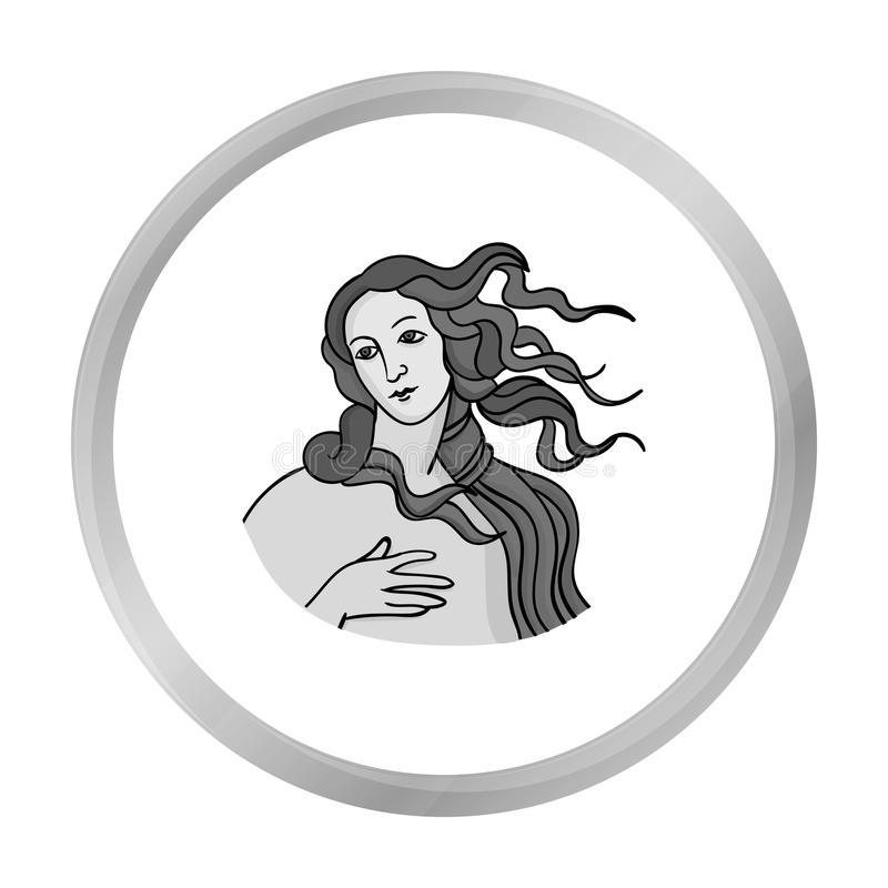 Italian goddess of love icon in monochrome style isolated on white background. Italy country symbol stock vector. Italian goddess of love icon in monochrome stock illustration
