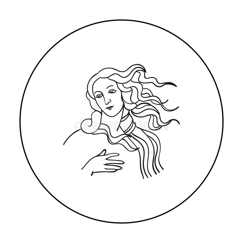 Italian goddess of love icon in outline style isolated on white background. Italy country symbol stock vector. Italian goddess of love icon in outline style royalty free illustration