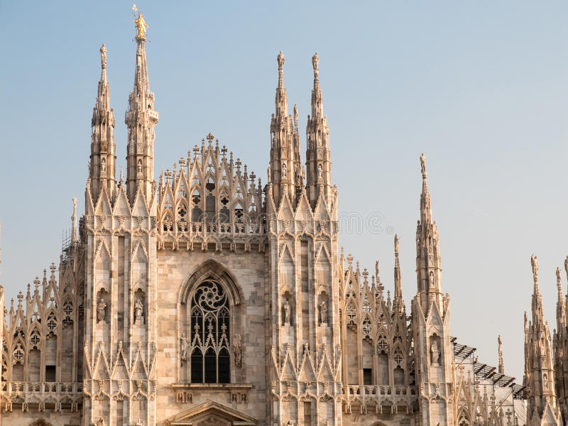 Download Italian Gothic Facade Of Historic Milan Cathedral Stock Photo