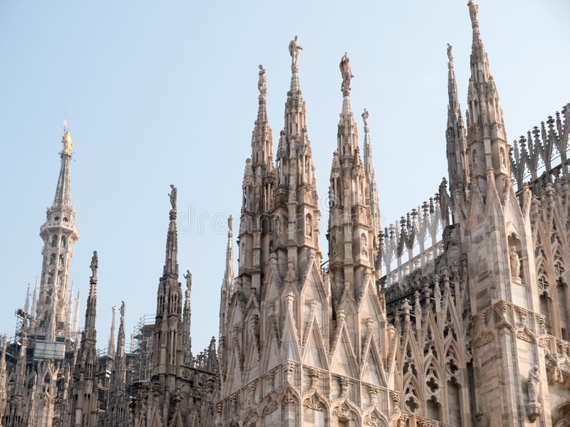 Download Italian Gothic Spires Of Historic Milan Cathedral Stock Photo