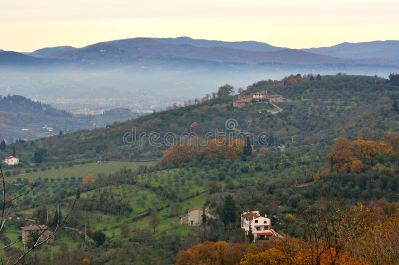 Italian green landscape in Tuscany , Italy royalty free stock images