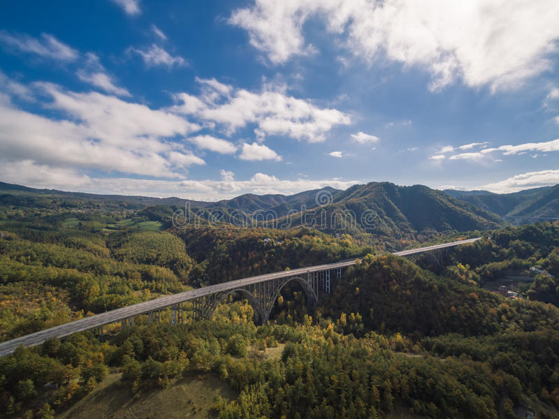 Italian highway, aerial view. Italian highway Florence-Bologna, aerial view stock photos