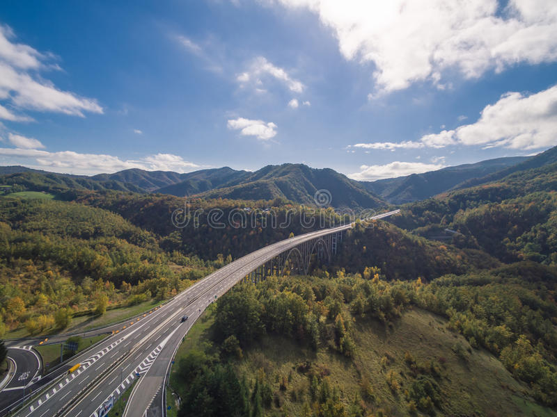 Italian highway, aerial view. Italian highway Florence-Bologna, aerial view royalty free stock photos