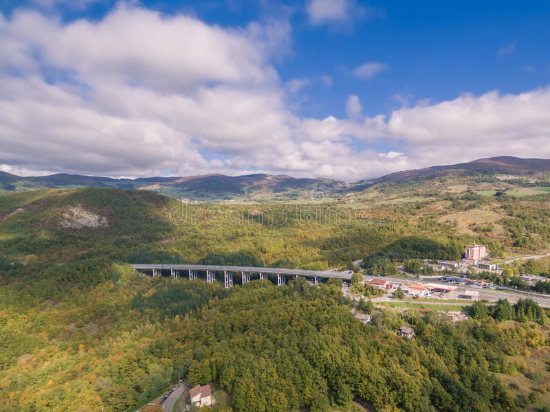 Italian highway, aerial view. Italian highway Florence-Bologna, aerial view stock photography