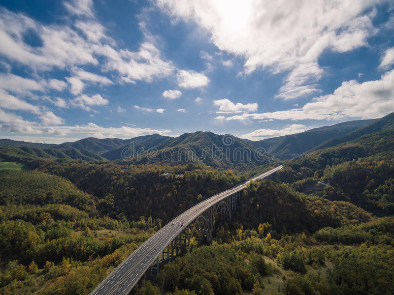 Italian highway, aerial view. Italian highway Florence-Bologna, aerial view stock images
