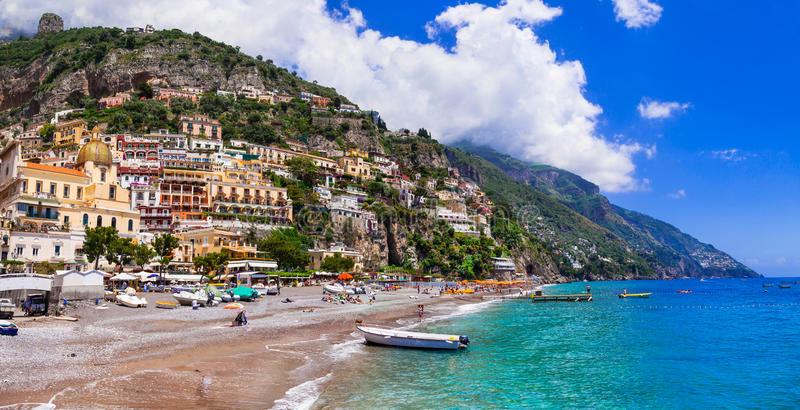 Italian holidays - beautiful beach of Positano - scenic Amalfi c royalty free stock photo