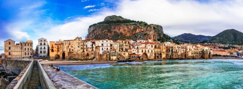 Italian holidays - beautiful coastal town Cefalu in Sicily. Beautiful Cefalu village over sunset,Sicily,Italy stock photo