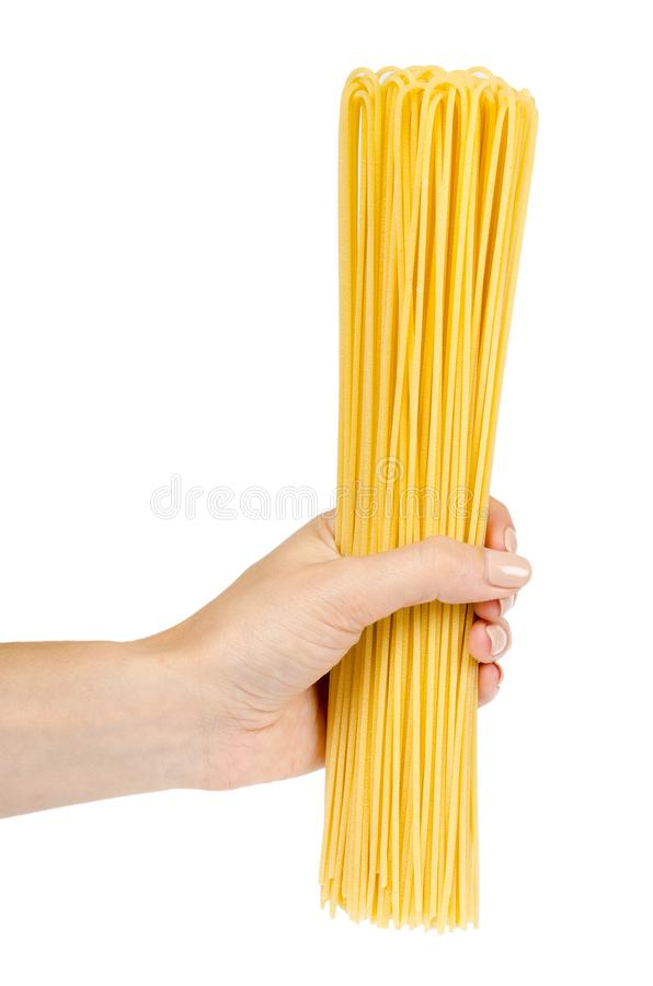 italian home made yellow pasta with hand, home cooking concept stock image