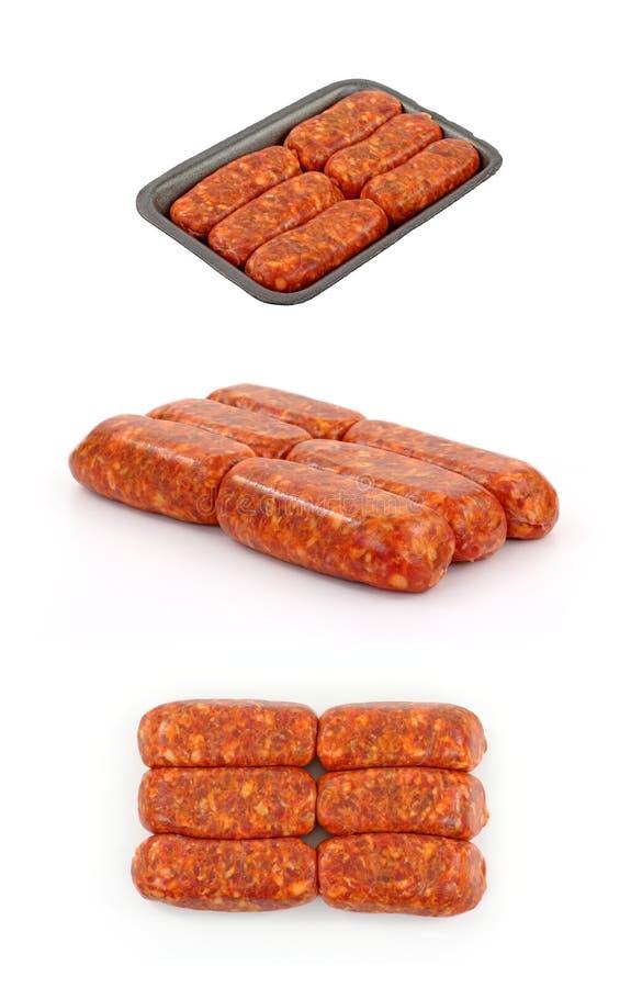 Italian Hot Sausage Links On White Background. Three images of Italian sausage links on a white background stock photos