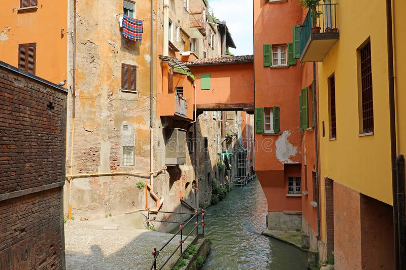 Italian houses between the hidden canal of Reno river, Bologna, Italy stock images