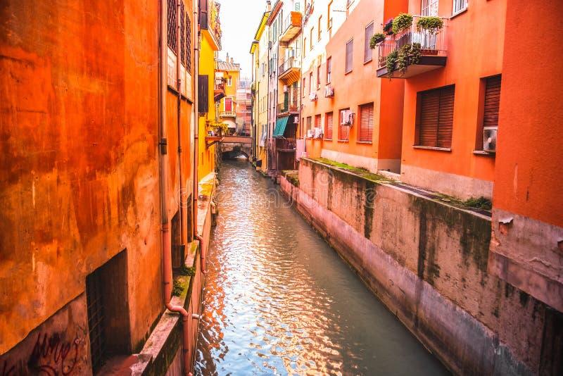 Italian houses between the hidden canal of Reno river in Via Oberdan - Bologna - Emilia Romagna Italy stock photos